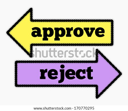 Approve and reject signs in yellow and purple arrows concept - stock photo