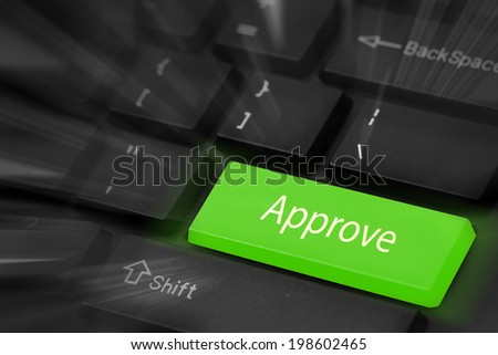 Approve button keyboard - stock photo