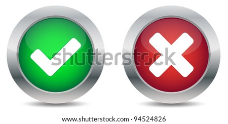 Approved and rejected buttons - stock photo