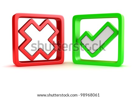 Approved and rejected marks in check boxes - stock photo