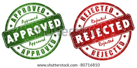 Approved and rejected stamps - stock photo