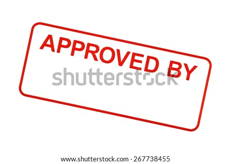 APPROVED BY Stamp In Red On White Background - stock photo