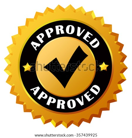 Approved gold seal - stock photo