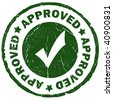 Approved green grunge stamp - stock photo