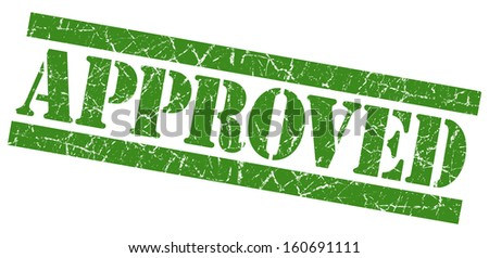 Approved grunge green stamp - stock photo