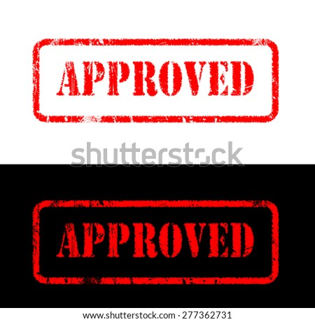Approved stamp style sign printed on black and white background - stock photo