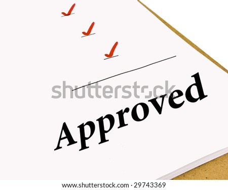 Approved status under a checklist isolated on white - stock photo