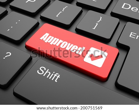 Approved word on a button keyboard keys, business concept  - stock photo