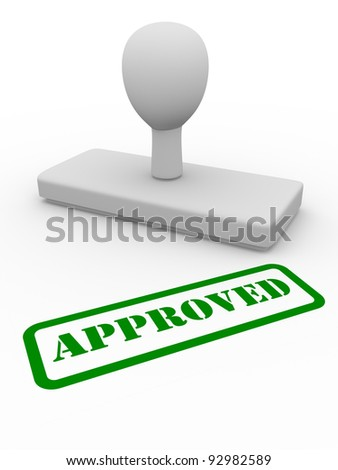 Approved word printed in green with a stamp - stock photo
