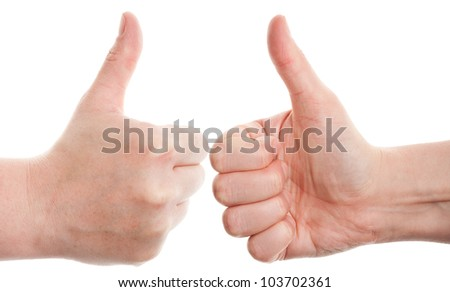 Approving  hands gestures, on a white background