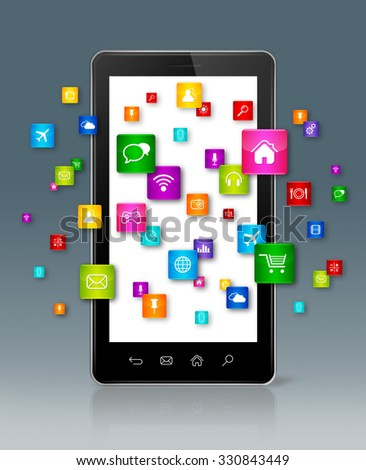 Apps icons flying around Smartphone - grey background - stock photo