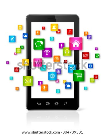 Apps icons flying around Smartphone - white background - stock photo