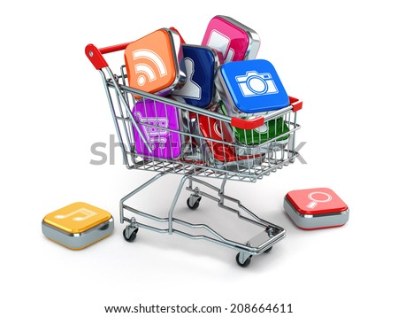 Apps icons in shopping cart. Store of  computer software. 3d - stock photo