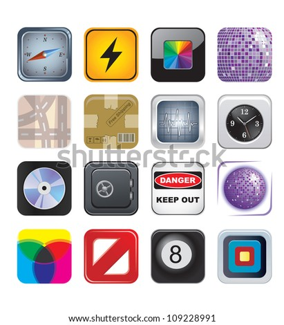 apps icons set two - stock photo