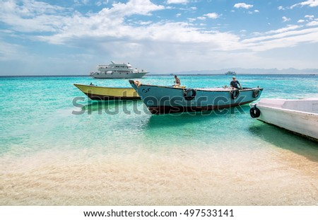 APR 13, 2014. Hurghada. Views of fishing and pleasure boats on the Red sea.Egypt.