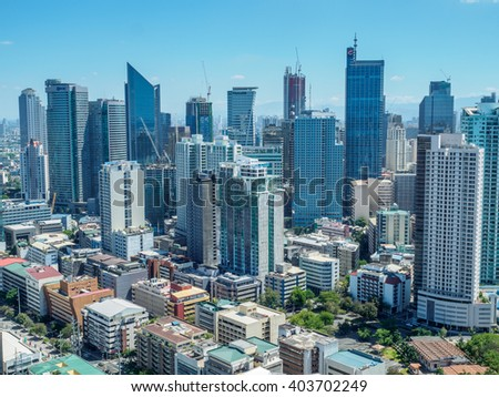 Apr 9, 2016 Manila, Philippines skyline view - stock photo