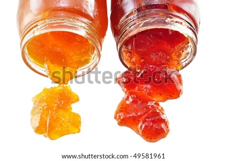 apricot and strawberry jelly - stock photo