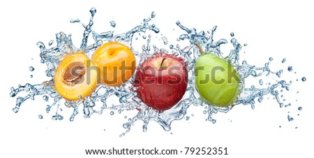 Apricot, apple and pear in spray of water. Juicy peach with splash on white background