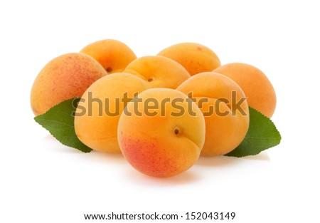apricot fruit isolated on white background - stock photo