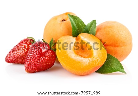 apricot fruits with green leaf and cut isolated on white background - stock photo