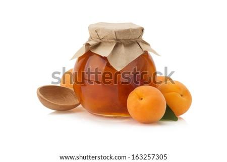 apricot jam isolated on white background - stock photo