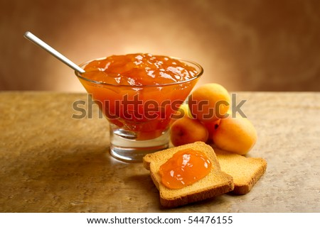 apricot jam with toast - stock photo