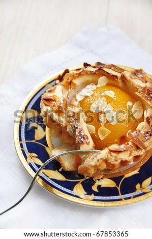 apricot meringue dessert - stock photo