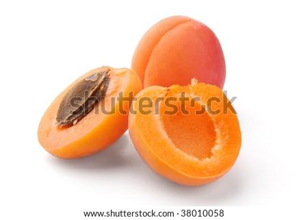 apricot on white background - stock photo