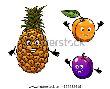 Apricot, pineapple and plum fruits logo in cartoon style. Vector version also available in gallery - stock photo