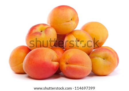 Apricots. Group of ripe apricots isolated on white background - stock photo