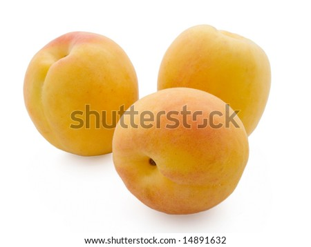 Apricots isolated on a white background - stock photo