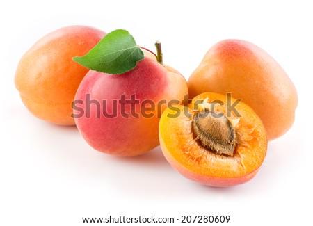 Apricots isolated on white background - stock photo