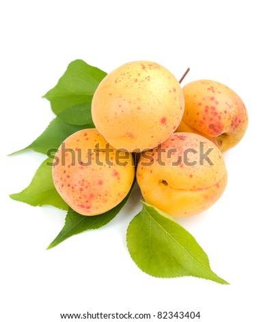 Apricots on a white background