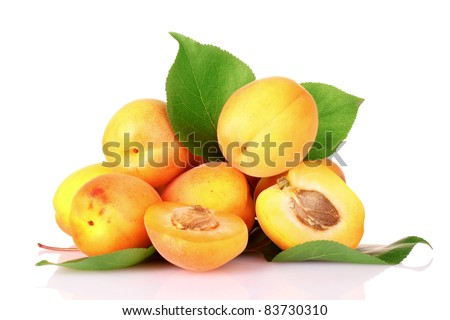 apricots with leaves isolated on white