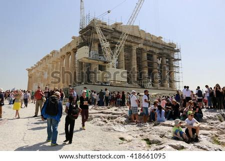 APRIL 2016 - ATHENS, GREECE: the Parthenon temple on the Akropolis hill. - stock photo