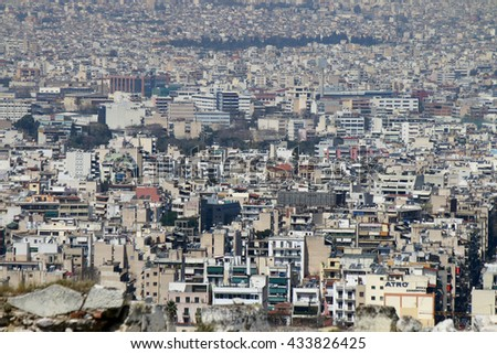 APRIL 2016 - ATHENS: the densly populated city of Athens, Greece - urbanity.