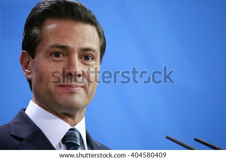 APRIL 12, 2016 - BERLIN: Mexican President Enrique Pena Nieto at a press conference after a meeting with the German Chancellor, Chanclery. - stock photo