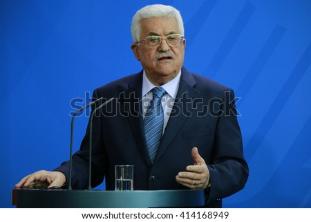 APRIL 19, 2016 - BERLIN: the president of the Palestinian National Authority, Mahmud Abbas at a press conference after a meeting with the German Chancellor, Chanclery. - stock photo