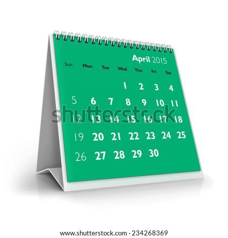 April 2015 Calendar - stock photo