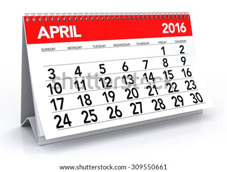 April 2016 Calendar. Isolated on White Background. 3D Rendering - stock photo