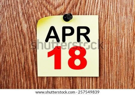 April 18 Calendar. Part of a set - stock photo