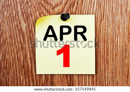 April 1 Calendar. Part of a set - stock photo