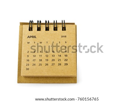 April. Calendar sheet. Two thousand eighteen year calendar on white background.