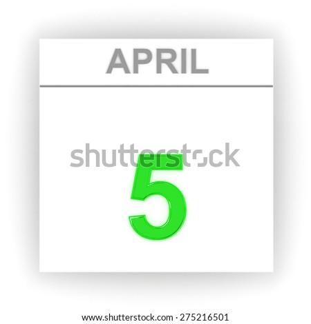 April 5. Day on the calendar. 3d - stock photo
