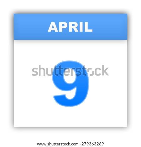April 9. Day on the calendar. 3d - stock photo
