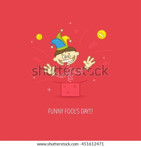 April Fool's Day Celebration flat design template for greeting cards, posters and banners. Jack-in-a-box in jester hat on red color background - stock photo