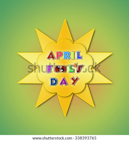 April fools day illustration over yellow background with text space - stock photo