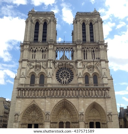 April 2016 ,Front view of Cathedral Notre Dame de Paris is a most famous Gothic, Roman Catholic cathedral on the eastern half of the Cite Island. France, Europe