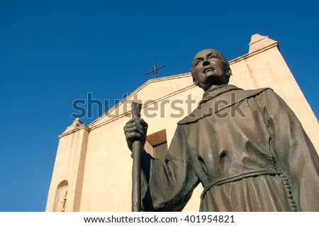 April 3, 2016: Photo of Mission San Gabriel Arcangel with statue of Junipero Serra,which is located in San Gabriel Californa USA.