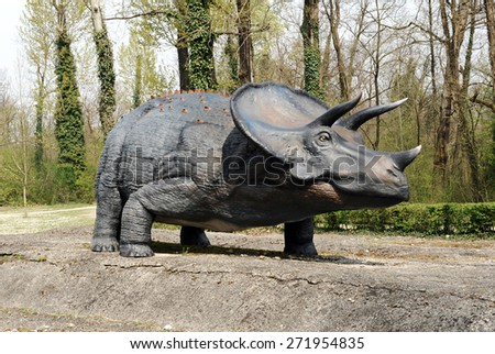 April 10, 2015 Prehistoric Park, Rivolta D' adda, Lombardy, Italy : Profile of Model of Triceratops Dinosaur, an Herbivorous Ceratopsian Dinosaur that Lived During Cretaceous Period - stock photo